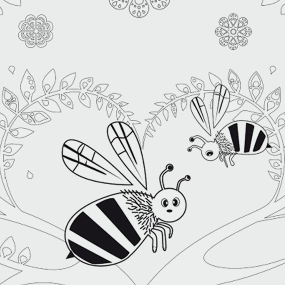 Biene Ausmalbild » Zum Ausdrucken als PDF  kribbelbunte Ausmalbilder