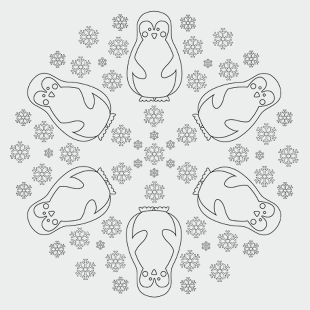 Pinguin Ausmalbilder - Pinguin-Mandala  kribbelbunte Ausmalbilder