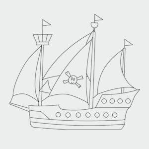 Ausmalbild Piratenschiff