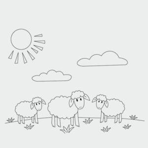 Ausmalbild Schafe