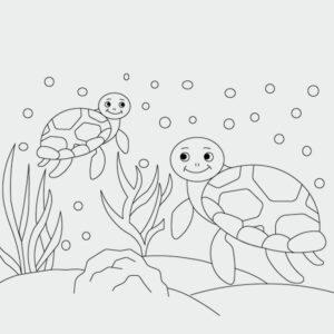 Ausmalbild Schildkröten